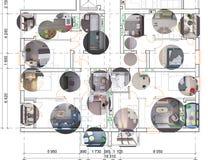 与回报室内设计样品,顶视图的现实3d的详细的建筑楼面布置图 向量例证