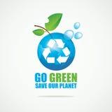 与回收标志的行星地球 免版税库存图片