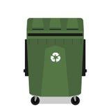 与回收空的标志的被转动的垃圾箱 库存图片