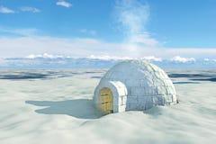 与园屋顶的小屋的北欧风景 库存图片