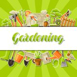 与园艺工具和项目的背景 季节从事园艺的例证 皇族释放例证