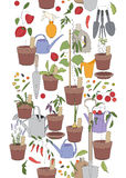 与园艺工具的无缝的垂直的样式 免版税库存照片