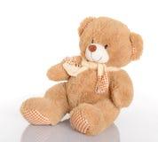 与围巾的经典玩具熊在空白背景 库存照片