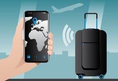 与固定GPS跟踪的聪明的行李 库存图片