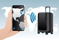 与固定GPS跟踪的聪明的行李 图库摄影