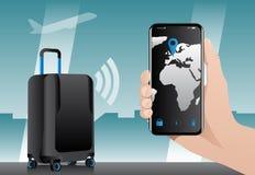与固定GPS跟踪的聪明的行李 库存照片