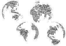 与国家(地区)名称的世界地图 皇族释放例证