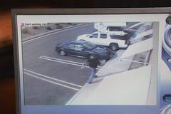 与图片的录影显示器从安全监控相机 免版税库存照片