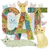 与图画的词CAT猫 传染媒介装饰zentangle对象 皇族释放例证
