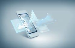 与图的白色smarthphone在屏幕上 免版税图库摄影