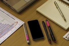 与图表、计算器、文具和地方的工作区文本的 免版税库存照片