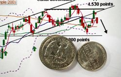 与图表和硬币的贸易的概念 库存照片