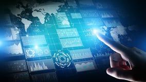 与图表和象的商业情报仪表板 大数据 贸易和投资 现代技术概念 免版税库存照片