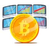 与图表图传染媒介的Bitcoin 贸易的显示器和趋向 数字式金钱 Cryptocurrency投资概念 免版税库存图片
