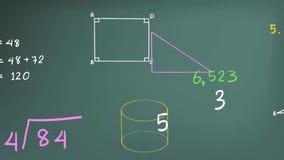 与图表图和等式集成电路的简单的数学算术主题数字理论和数学符号的动画和标志 皇族释放例证