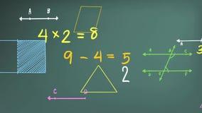 与图表图和等式ico的简单的数学算术主题数字理论和数学符号的动画和标志 向量例证