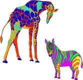 与图象的例证长颈鹿和斑马 免版税图库摄影