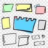 8与图钉和磁带的不同滑稽的颜色和形状空白的便条纸在透明作用背景 库存例证