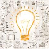 与图画企业成功战略的电灯泡 免版税库存图片