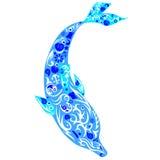 与图画的海豚,哺乳动物漂浮下来,海生动物, a 免版税库存图片