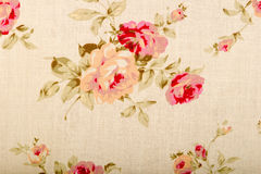 与图画花的棉花亚麻制织品纹理 免版税库存照片