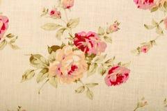 与图画花的棉花亚麻制织品纹理 免版税库存图片