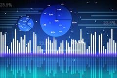 与圆形统计图表和世界的股市图表 免版税库存图片