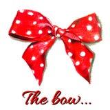 与圆点的红色传染媒介礼物弓 向量 免版税图库摄影