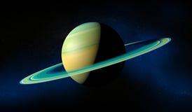与圆环的土星行星 蓝色展望期少校编号安排了行星空间范围视图 库存照片