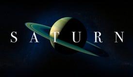 与圆环的土星行星 蓝色展望期少校编号安排了行星空间范围视图 免版税库存照片