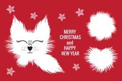 与圆白色逗人喜爱的狐狸adn毛皮的心脏的圣诞快乐卡片 在红色背景隔绝的传染媒介例证 库存例证