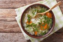 与圆白菜关闭的热的蔬菜汤在桌上 horizonta 图库摄影