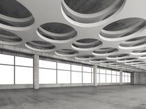 与圆的孔天花板样式, 3d的内部 免版税库存照片