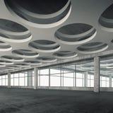 与圆的孔天花板样式, 3d的空的内部 免版税图库摄影