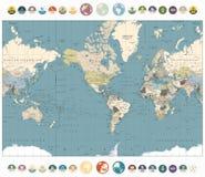 与圆的平的象和水珠的世界地图老彩色插图 库存图片