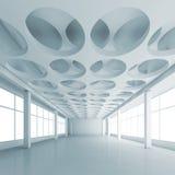 与圆的样式的蓝色3d内部在天花板 库存图片