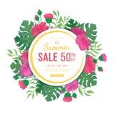 与圆的框架的大夏天销售横幅 木槿、叶子monstera和棕榈的花和芽 热带异乎寻常的模板海报 免版税库存图片