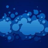 与圆的泡影的抽象蓝色背景 免版税库存图片