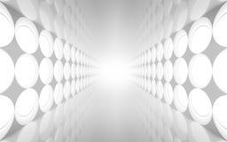 与圆的装饰的白色摘要3d内部 免版税库存图片