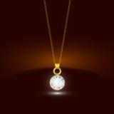 与圆的金刚石垂饰的金黄链子项链 首饰设计 免版税库存照片