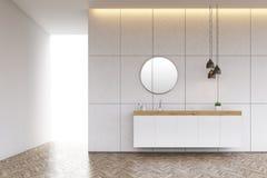 与圆的镜子的卫生间水槽在铺磁砖的墙壁上 向量例证