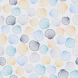 与圆的贝壳的风格化无缝的纹理 免版税图库摄影