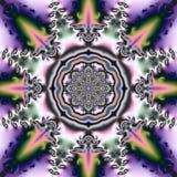 与圆装饰品的抽象背景和以花的形式几何图 免版税库存照片