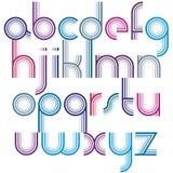 与圆角落,生气蓬勃的spheri的五颜六色的小写字母 库存图片