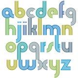 与圆角落,生气蓬勃的spheri的五颜六色的小写字母 库存照片