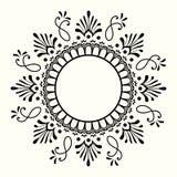与圆mehndi装饰品的装饰黑白框架 库存例证