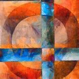 与圈子和十字架的五颜六色的摘要 免版税库存图片