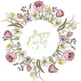 与圈子和花卉浪漫元素的春天构成 郁金香和黄水仙在白色背景 向量例证