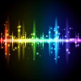 与圈子和闪闪发光的霓虹明亮的调平器 库存图片