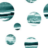 与圈子图象的抽象样式,充满水彩纹理蓝色 库存图片